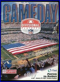 2002 1/19 New England Patriots Raiders Playoff Program Tuck Rule Snow Bowl(PL)