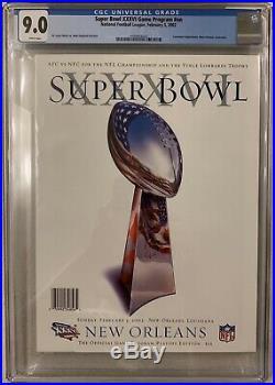 2002 Super Bowl XXXVI (Patriots) Program, CGC 9.0 Pop 1! Brady/Belichick 1st