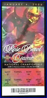 2006 Rose Bowl Ticket Program & Lanyard/holder Texas Longhorns Usc Trojans