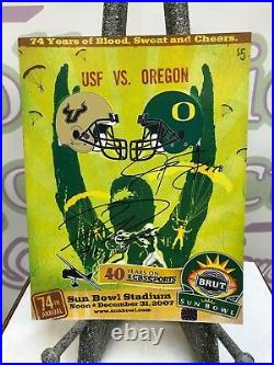 2007 Sun Bowl Program Signed Stewart/Dixon Oregon Ducks COA Free Shipping