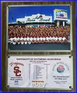 2008 USC vs ILLINOIS ROSE BOWL FOOTBALL GAME COMMEMORATIVE PLAQUE TROJANS
