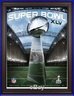 2011 Packers vs Steelers Framed 36x48 Canvas Super Bowl XLV Program Fanatics