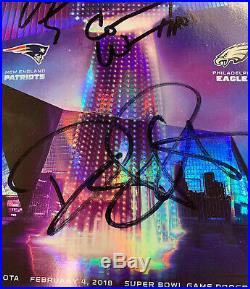 2018 Super Bowl 52 Eagles / Patriots Program 3x Signed Auto Pederson Wentz Ertz