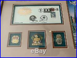 4 Framed Original Ticket Stub 1996 SUPER BOWL XXX 30 with Program & 14 Pins