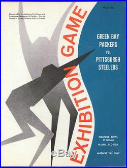 8/10/1963 Pittsburgh Steelers Green Bay Packers Exhibition Game Orange Bowl Nm