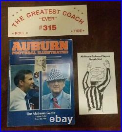 Bear Bryant #315 Game Program Auburn Football Illustrated Nov 28, 1981 Iron Bowl