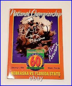 Bobby Bowden Charlie Ward Signed FSU Nebraska 1994 Orange Bowl Program JSA