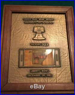 Bronze plaque bear Bryant's final game the liberty bowl