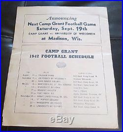 Chicago Bears Vs Camp Grant Football Program 8/22/1942 Bell Bowl Camp Grant ILL