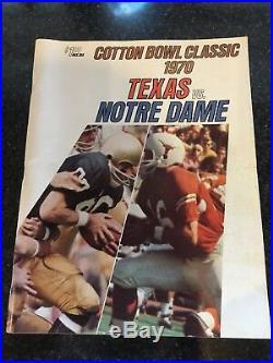 Cotton Bowl Classic 1970 Football Program Texas vs Notre Dame Joe Theismann