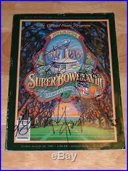 Dallas Cowboys'93 Super Bowl Prog XXVIII Signed by NFL HOF E. Smith, K Norton