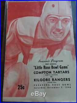 Dec 7 1946 1st Little Rose Bowl Compton vs Kilgore Football Program Very Cool
