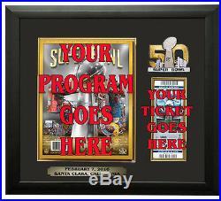 Denver Broncos Super Bowl 50 Program & Ticket Holder Black Frame