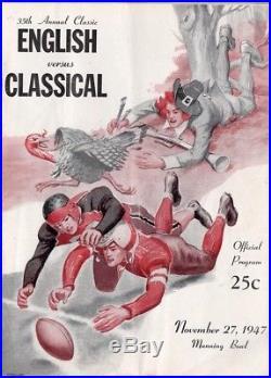 Harry Agganis 1947 Program Manning Bowl Lynn Classical Vs English Nov 27 Thanksg