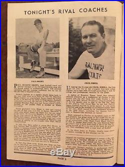 Historic 1947 Rubber Bowl Cleveland Browns vs Baltimore Colts 1st Year COLTS