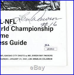 Len Dawson Signed AFL-NFL Super Bowl I Media Press Guide Chiefs JSA Auto DA26402