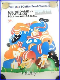 Mobil Cotton Bowl 58th Football 1994 Poster Notre Dame vs. Texas A&M Palladino