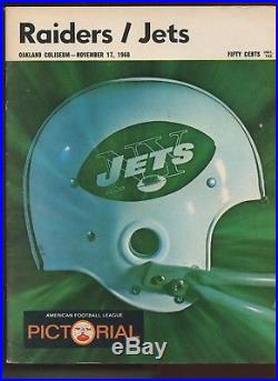 November 17 1968 AFL Program New York Jets at Oakland Raiders Heidi Bowl EX