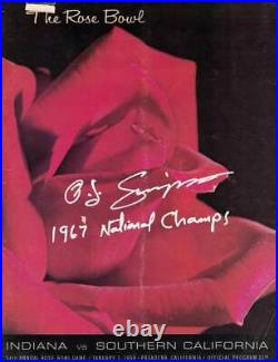 O. J. Simpson Signed USC Trojans 1968 Rose Bowl Program Champs As Is JSA 31722