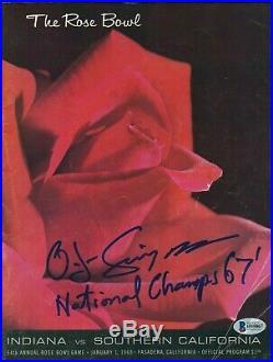 O. J. Simpson Signed USC Trojans Rose Bowl Program 67 National Champs MVP BAS