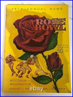 Official College Football Program - 1960 Wisconsin vs. Washington (Rose Bowl)