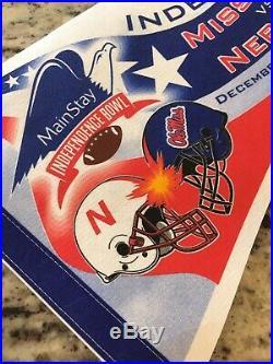 Rare 2002 Vintage Nebraska Independence Bowl Football Ole Miss Banner Pennit