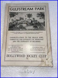 Rare Vintage Oklahoma OU Vs Tennessee Football Program Orange Bowl Jan 2, 1939