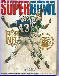 SUPER BOWL III 1969 OFFICIAL GAME PROGRAM Jets vs Colts, Joe Namath, Upset