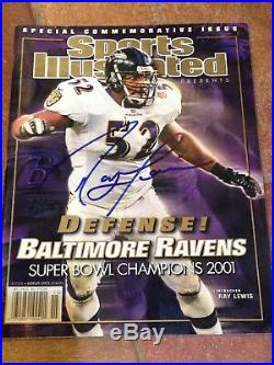 Signed Ray Lewis 2001 Super Bowl Champs Baltimore Ravens Sports Illustrated