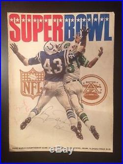 Signed Super Bowl III 3 1969 NFL Football Game Program Jets Colts Joe Namath