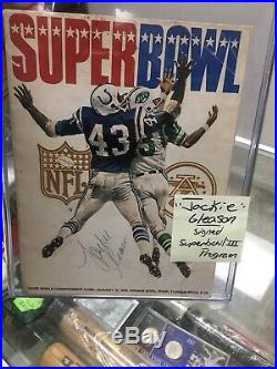 Super Bowl 3 III Program SIGNED JACKIE GLEASON NFL Jets Colts Comedian Legendary