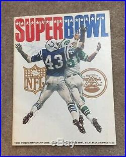 Super Bowl 3 Sb III Official Program Afl NFL Baltimore Colts Ny Jets 1969