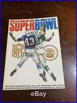 Super Bowl 3 Sb III Program Afl NFL Baltimore Colts Ny Jets Original 1969