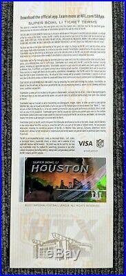 Super Bowl 51 LI Patriots Falcons Full Authentic Ticket, Lanyard, Pin & Program