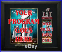 Super Bowl 51 Program & Ticket Holder Black Frame