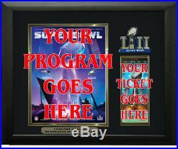 Super Bowl 52 Program & Ticket Holder Black Frame Super Bowl LII