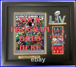 Super Bowl 55 Program & Ticket Holder Black Frame Super Bowl LV