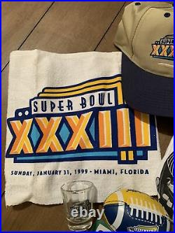 Super Bowl In A Box XXXIII Program Shirt Shot Glass Football Hat Towel Broncos
