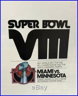Super Bowl VIII (8) 1974 Football Program Vikings vs Miami Dolphins