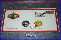 Super Bowl XXXII Packers Broncos Postal Service Limited Edition Framed Envelope