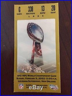 Super Bowl XXXVI Ticket, Program (no Bar Code) Pins. Patriots Vs Rams