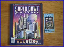 Super Bowl XXXVIII NEW ENGLAND PATRIOTS PANTHERS Program & Ticket TOM BRADY MVP