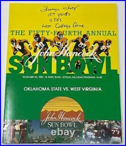 THURMAN THOMAS Signed 1987 SUN BOWL PROGRAM Oklahoma State West Virginia PSA COA