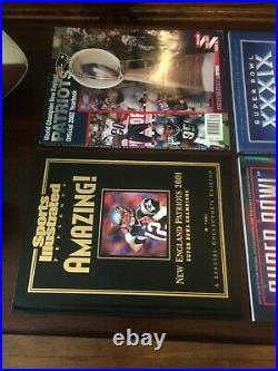TOM BRADY PATRIOTS-2 Super Bowl Football-2 Programs-1 Yearbook-1 SI Book-3 Video