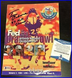 TOM OSBORNE SIGNED NEBRASKA 1998 Orange Bowl Program BECKETT WITNESS COA N68400