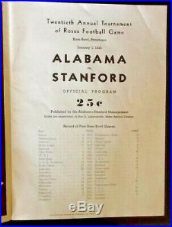 Vintage 1935 ROSE BOWL FOOTBALL PROGRAM ALABAMA VS STANFORD