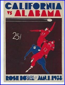 Vintage 1938 ROSE BOWL FOOTBALL PROGRAM ALABAMA VS CALIFORNIA