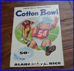 Vintage 1954 Cotton Bowl Alabama Rice Football Program Bart Starr Dick Moegle
