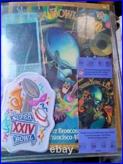 Vintage 1989-90 NFL Super Bowl XXIV Game Program, Ticket + Patch + Extra