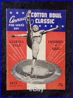 Vintage January 1, 1943 Cotton Bowl Georgia Tech vs Texas Football Program 286